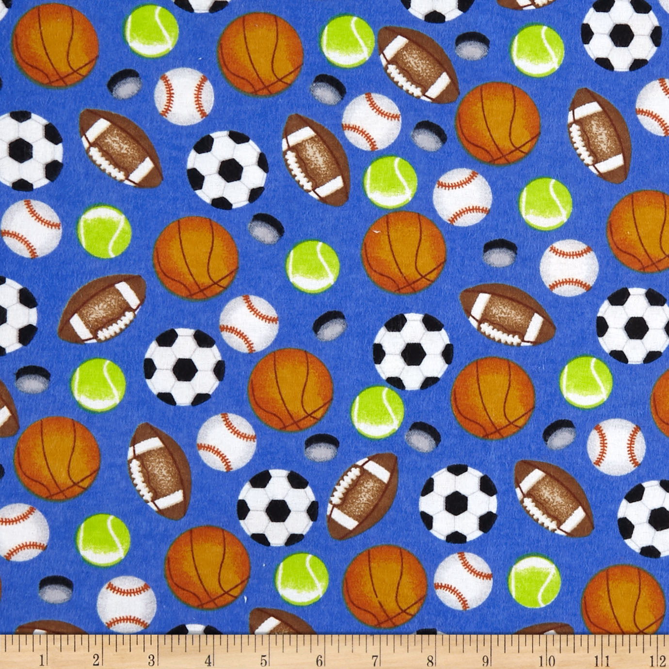 INOpets.com Anything for Pets Parents & Their Pets Sports Allover Flannel Blue Fabric