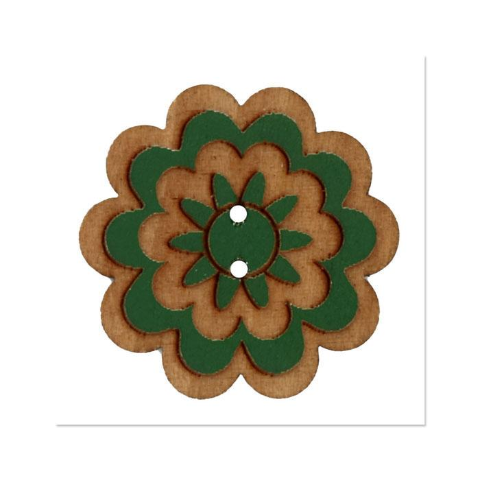 Organic Elements Wood Button 1 1/4'' Green
