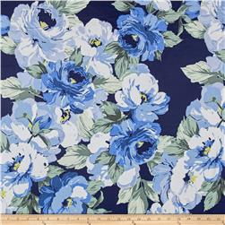 Cotton Stretch Poplin Floral Royal Navy/ Porcelain Blue