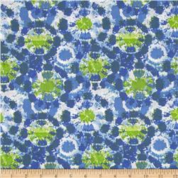Tie Die Circles Cotton Poly Broadcloth Blue