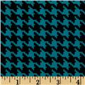 Koshibo Crepe De Chine Mini Houndstooth Teal/Black
