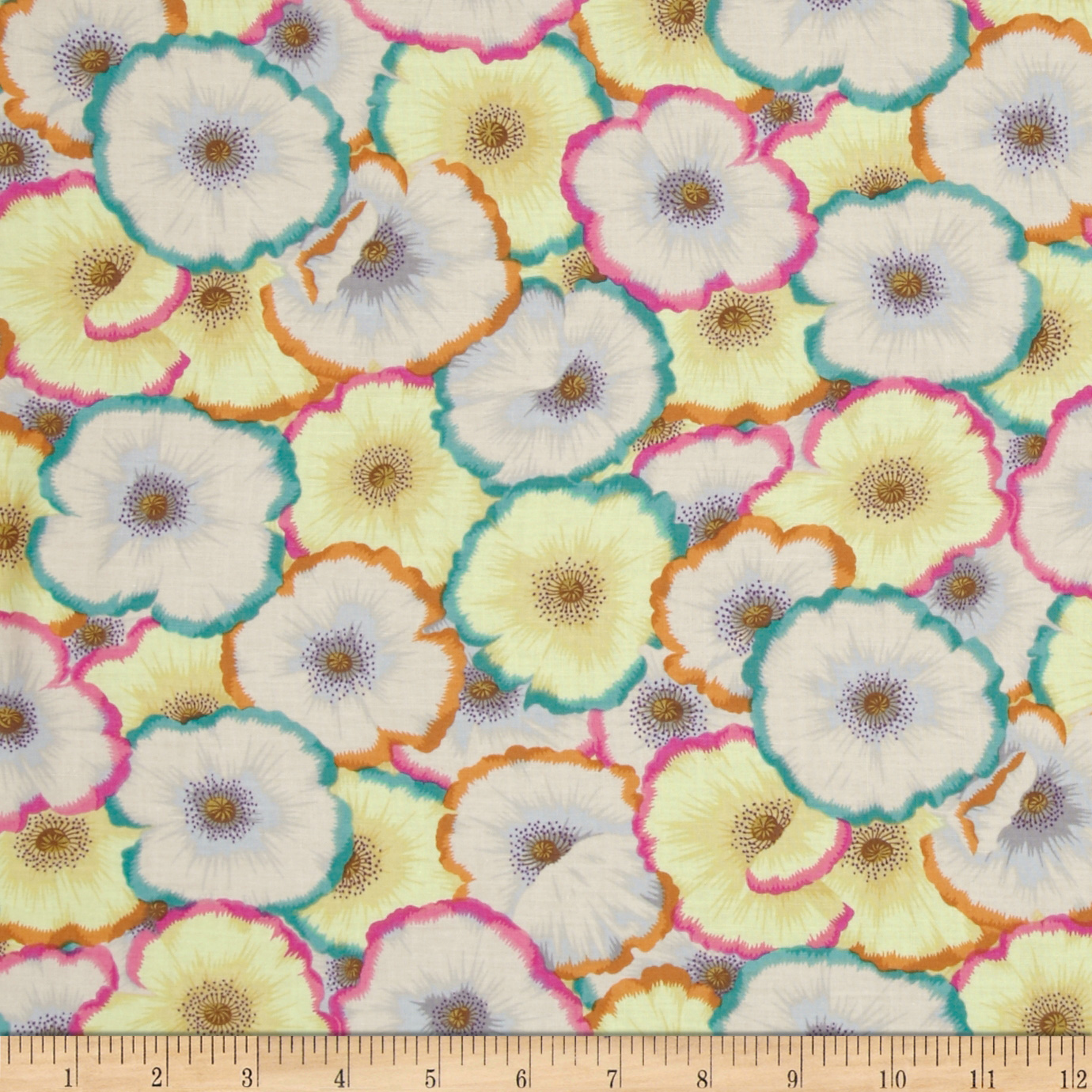 Kaffe Fassett Picotte Poppies Lime Fabric