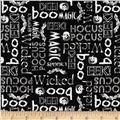 Hocus Pocus Halloween Words Black/White