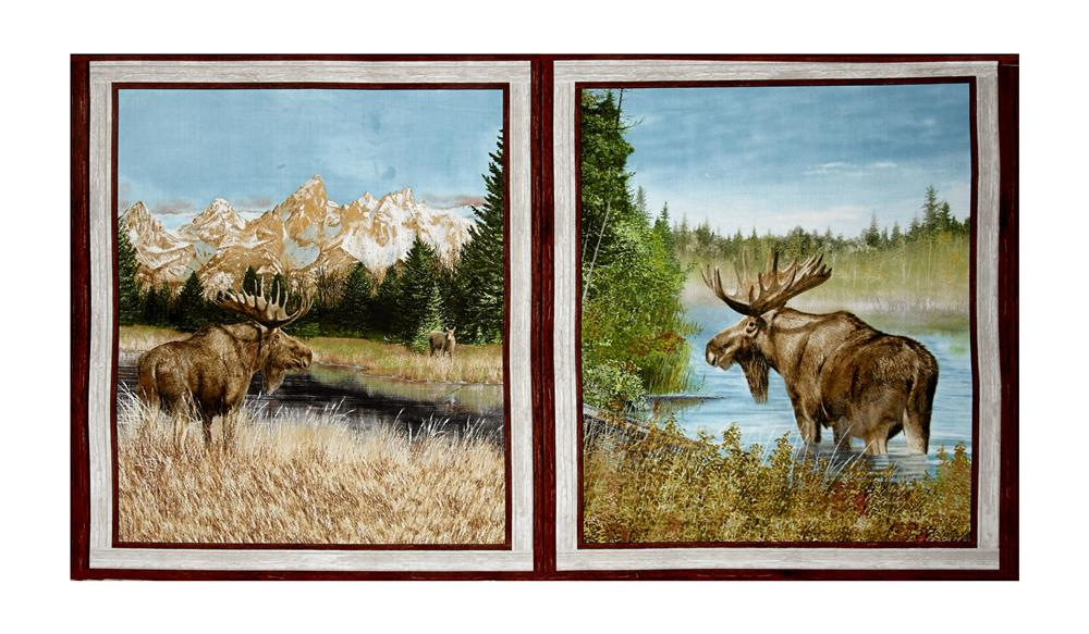 """By Water's Edge Moose Patches 24"""" Panel Multi"""