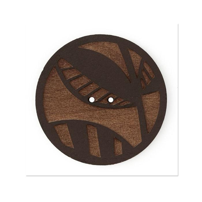 Organic Elements Wood Button 1 1/2'' Brown