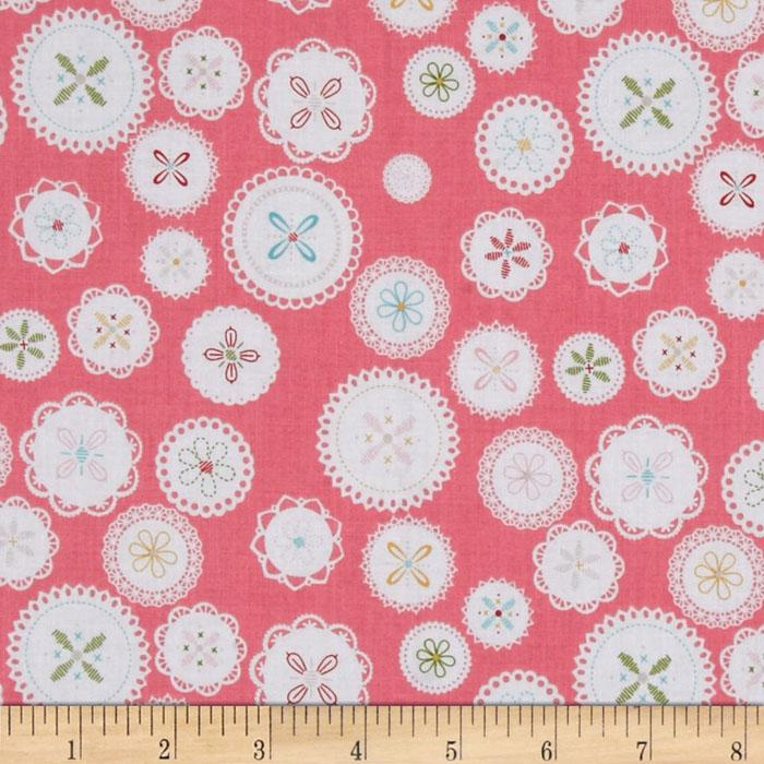Riley Blake Polka Dot Stitches Doily Pink
