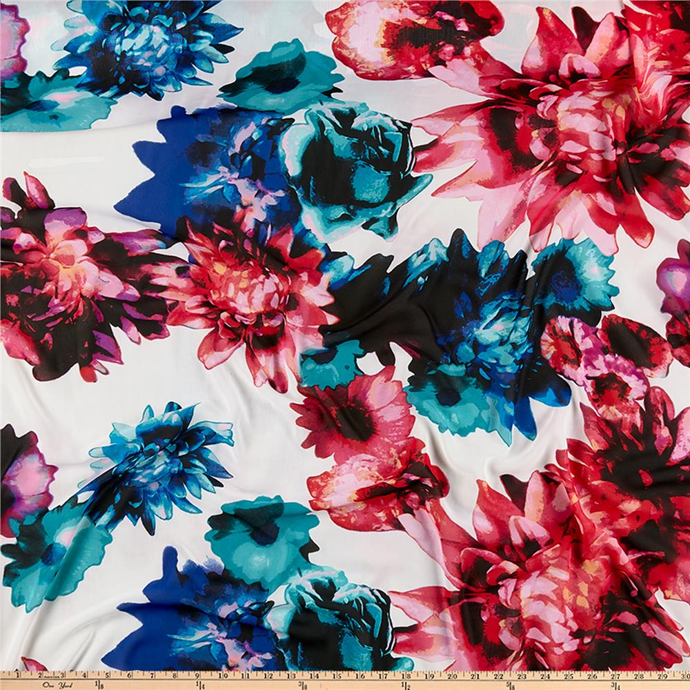 Muted Blue And Floral Red: Chiffon Large Floral Digital Print White/Blue/Pink/Multi