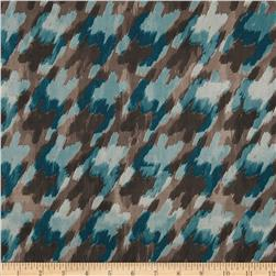 Venice Jersey Knit Houndstooth Teal/Brown