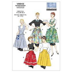 Vogue Aprons Pattern V8643 Size XY0