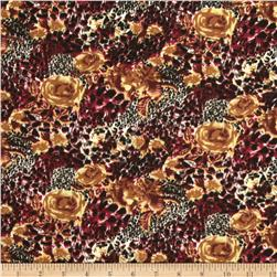 Jungle Safari Broadcloth Cheetah Rose Burgundy Fabric