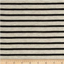 Stretch Rayon Jersey Knit Small Stripe Oatmeal/Black