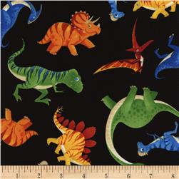 Timeless Treasures Tossed Dinosaurs Black Fabric