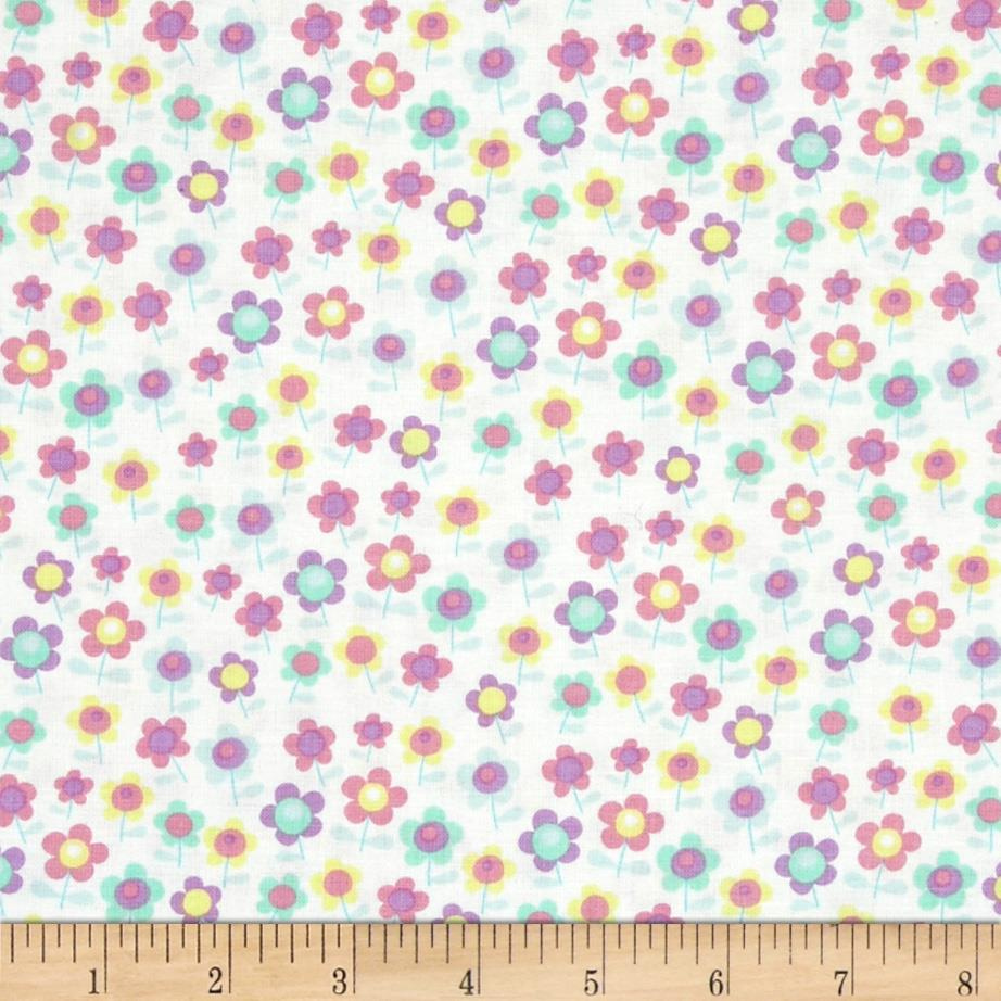 A Happy Rainy Day Ditsy Flowers White/Multi