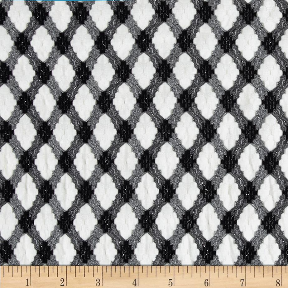 Stretch Novelty Pointelle Lace Argyle Black/White