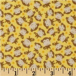 Riley Blake Snips & Snails Flannel Monkeys Yellow