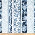 Normandy Court Floral Stripe White/Blue