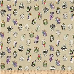 Monet Rayon Sateen Owls Khaki