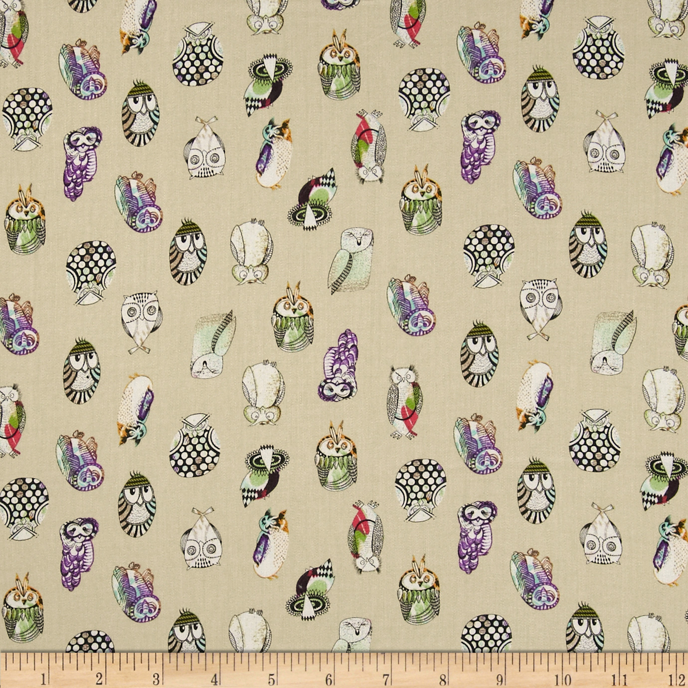 Monet Rayon Sateen Owls Khaki Fabric