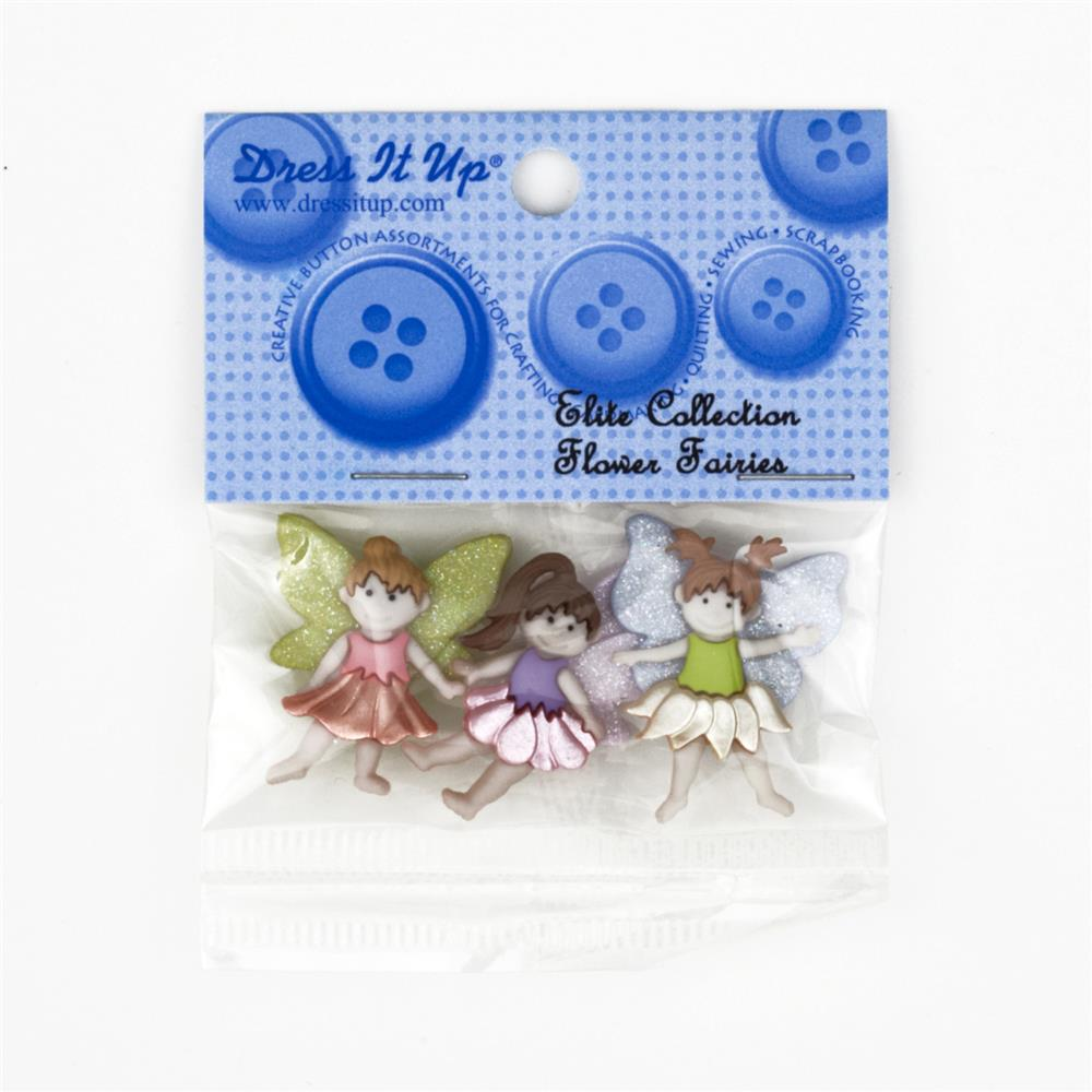Dress It Up Embellisment Buttons Flower Fairies