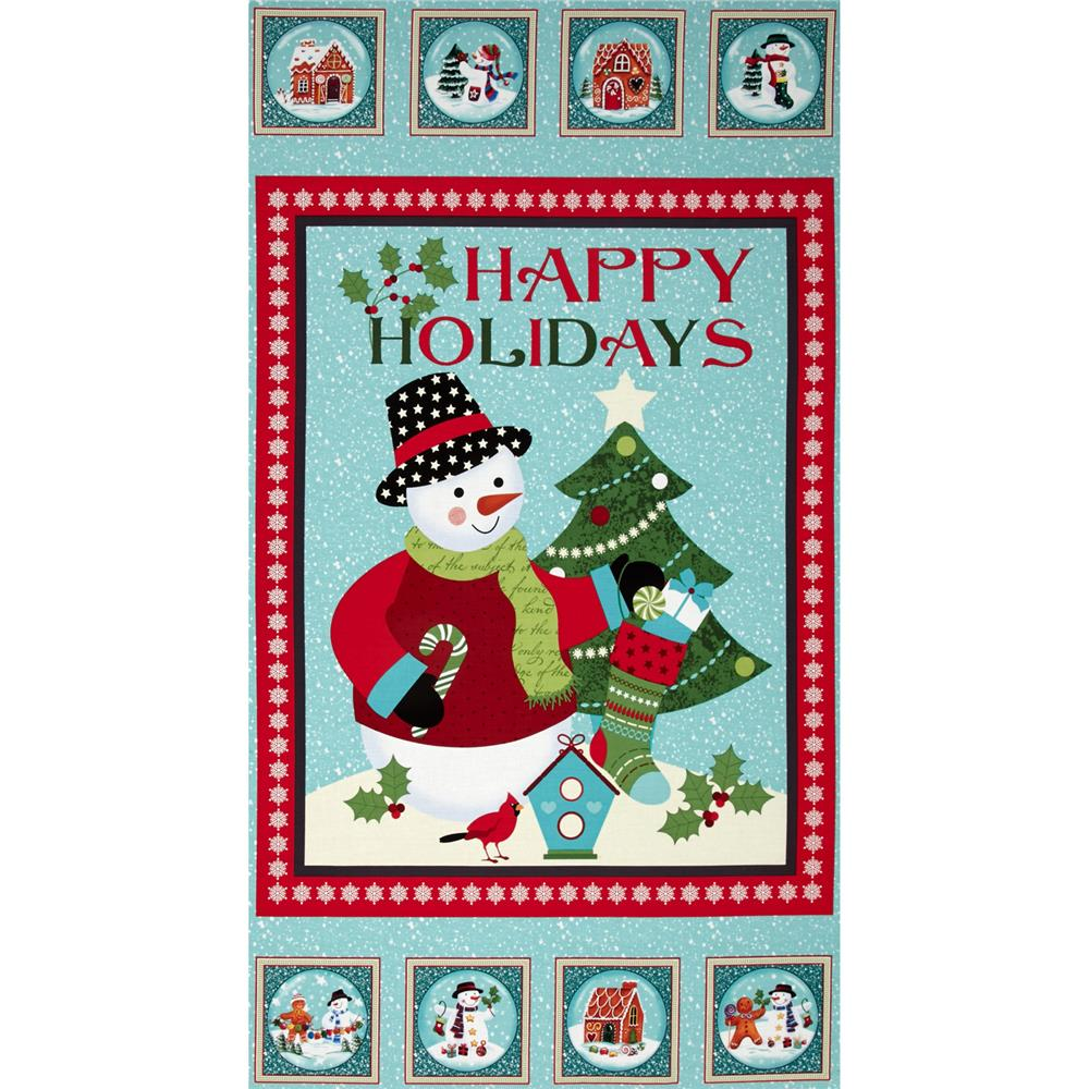 "Happy Holidays Snowmen 24"" Panel Light Teal"