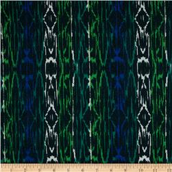 Spandex ITY Knit Ikat Royal/Green/Beige