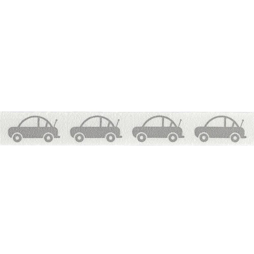 "Riley Blake 1/2"" Cotton Tape Ribbon Cars Grey"