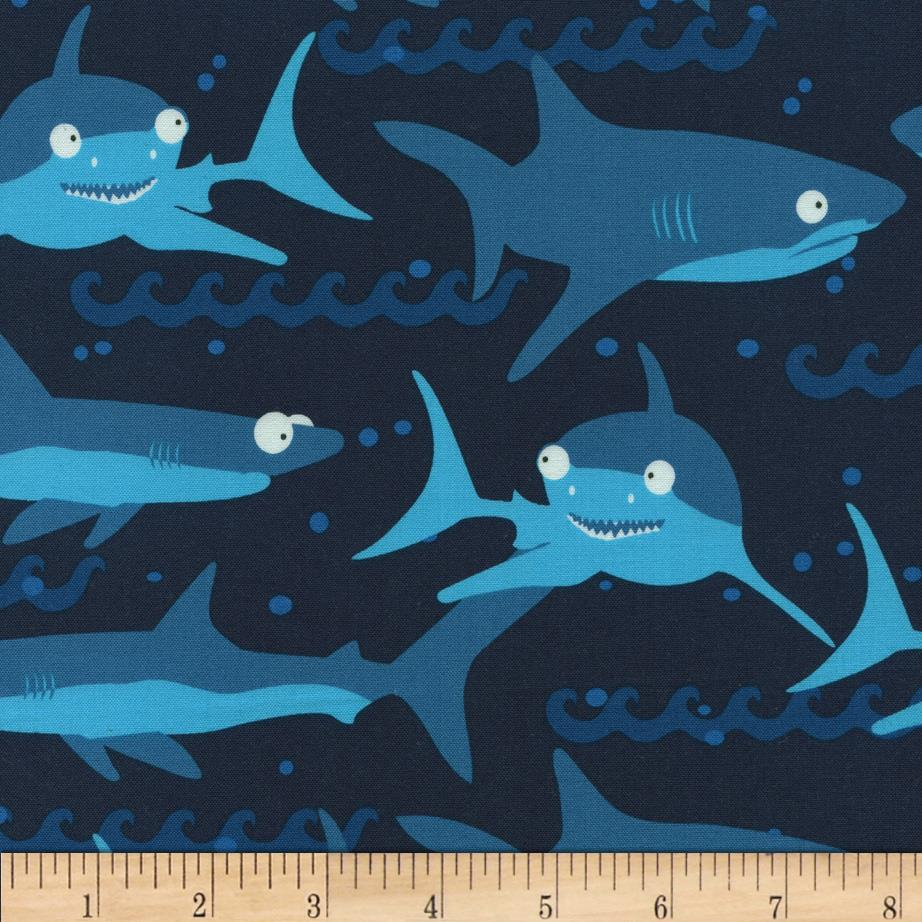 Timeless Treasures Scuba City Sharks Navy