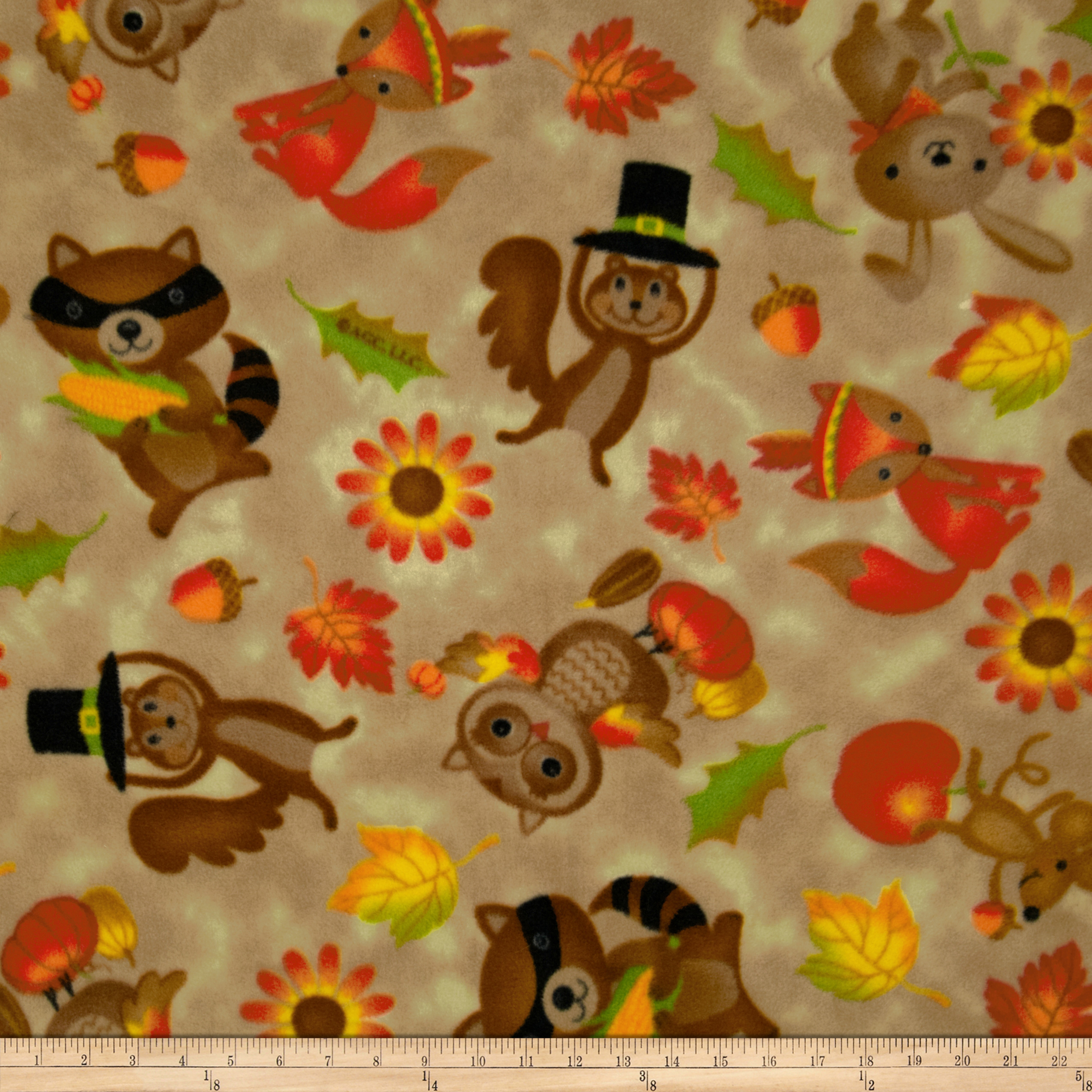 Thankful Animals Fleece Cream Fabric