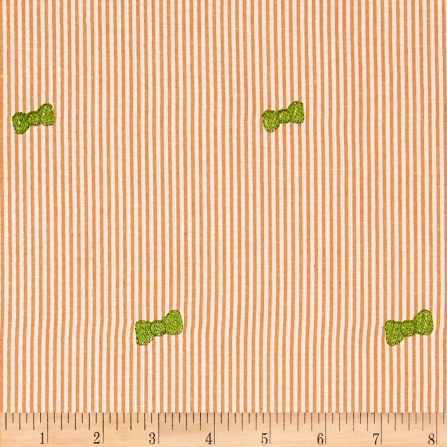 Embroidered Seersucker Orange/White Bow Green