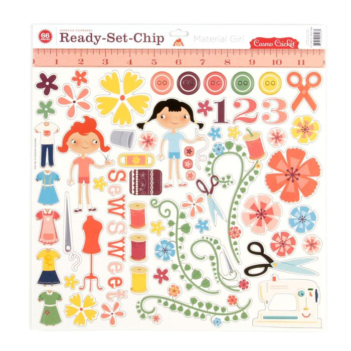 "Cosmo Cricket Material Girl Ready-Set-Chip 12"" Chipboard"