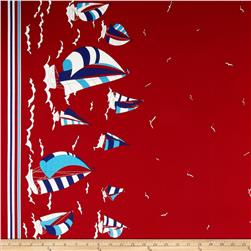 Kokka Trefle Canvas Nautical Border Print Red Fabric