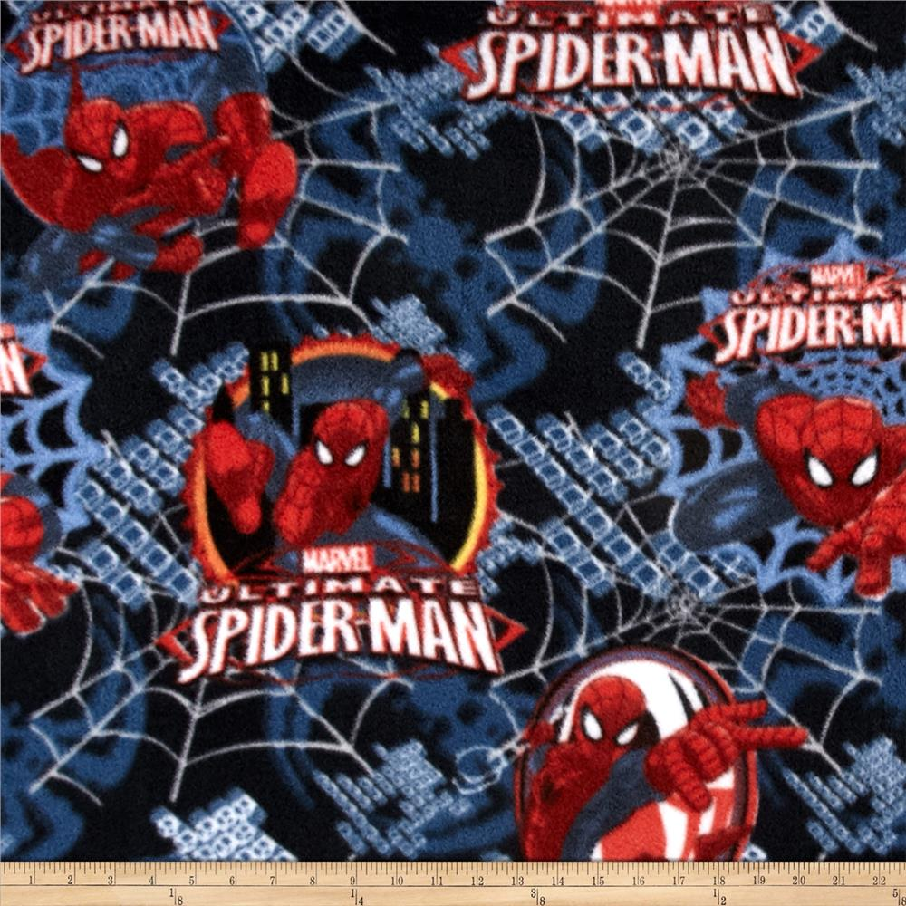 Ultimate Spiderman Fleece Badge Blue Fabric