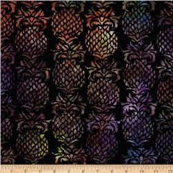 Island Batik Saturday Night Fever Black/Multi Pineapple Fabric