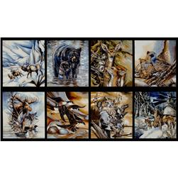 North American Wildlife Earth Panel Black Fabric
