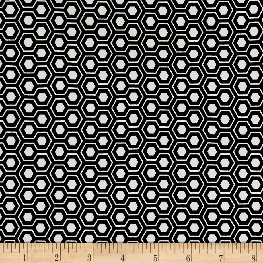 Avalana Jersey Knit Honeycomb Black/Beige Fabric by Stardom Specialty in USA