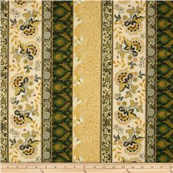 Moonlight Peacock Metallic Floral Border Gold/Gold