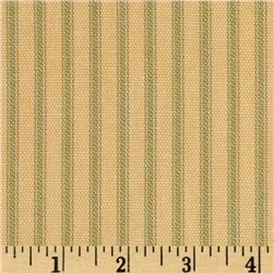 Vertical Ticking Stripe Olive/Tan Cream Fabric