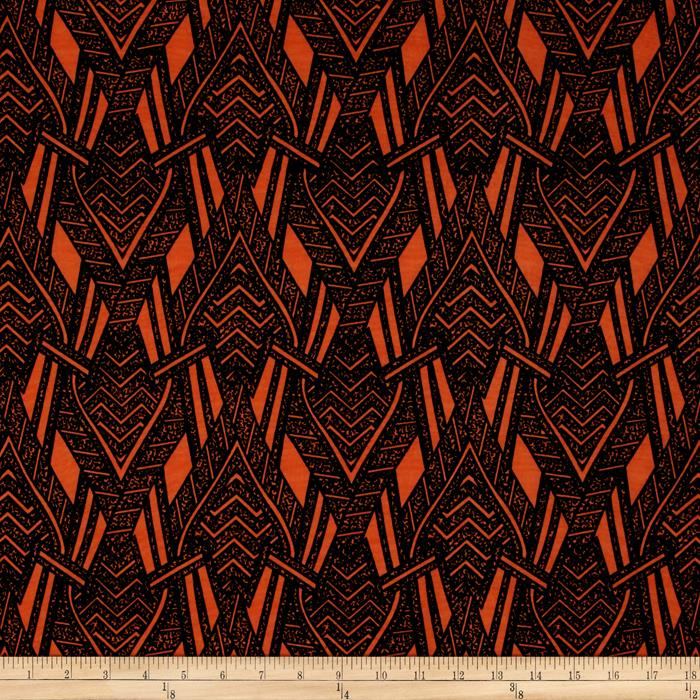 Stretch ITY Knit Abstract Arrows Orange