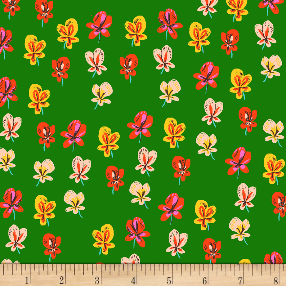 Heather Ross Sleeping Porch Lawn Pansies Green Fabric by Windham in USA
