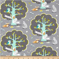 Michael Miller Flannel Les Amis Grey Fabric