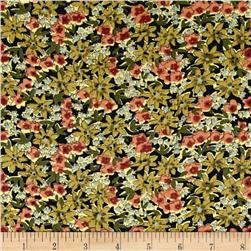 Corduroy Pink/Green Flowers on Black