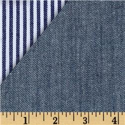 Kaufman Reversible Railroad Stretch Denim Indigo Fabric