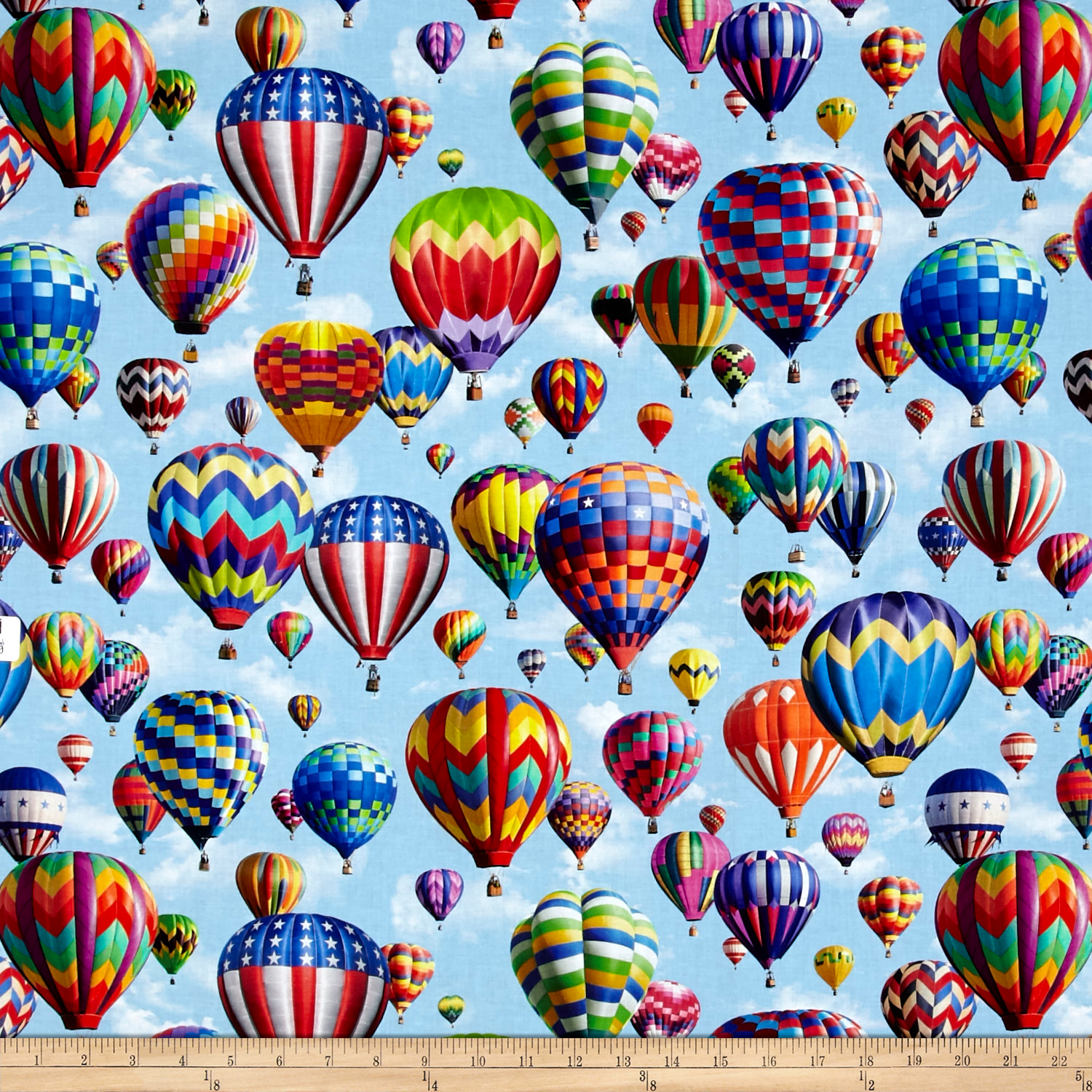 American Byways Digiatl Print Hot Air Balloons Sky Fabric 0488416