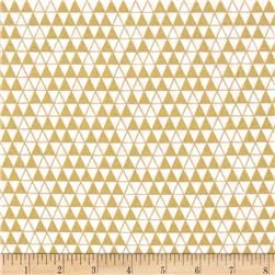 Bold & Gold Metallic Triangle Grid White