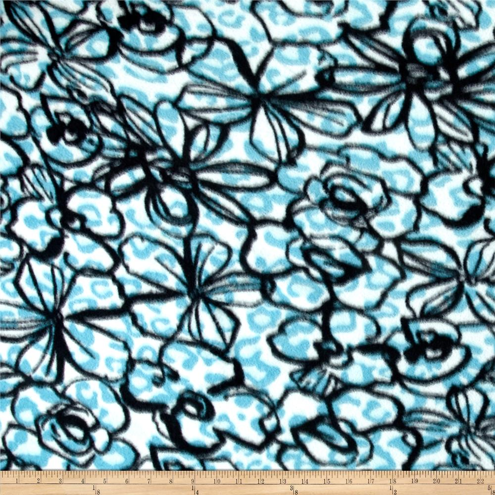 Printed Fleece Hibiscus Flower Blue/White