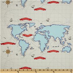 Michael Miller Out To Sea Nautical Map White
