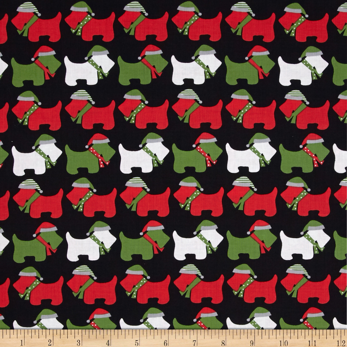 Kaufman Jingle Scottie Dogs Black Fabric