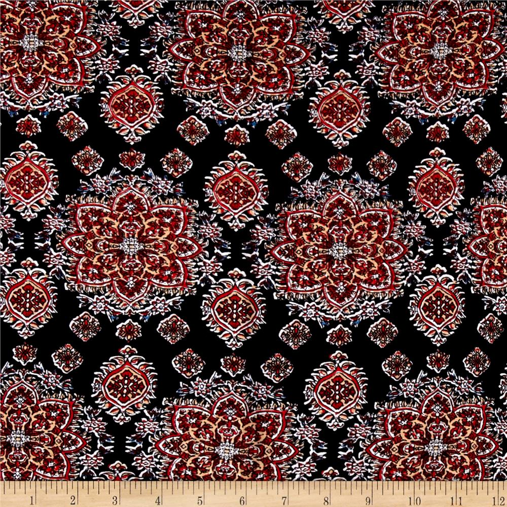 Rayon challis aliso red discount designer fabric for Rayon fabric