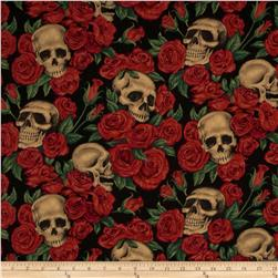 Resting in Roses Skulls & Roses Black Fabric