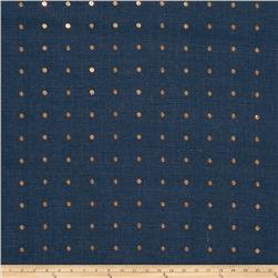 100% Linen Sequinned Navy